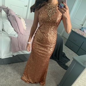 Gold/Bronze Pageant or Prom Gown with sequins